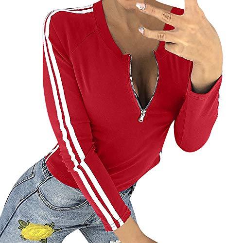 Damen Oberteile MYMYG Frauen-reizvolle Reißverschluss-öffnende O-Ansatz Gestreifte Lange Hülsen-T-Shirt Spitzenbluse Herbst und Winter Sweatshirt(rot,EU:38/CN-L)