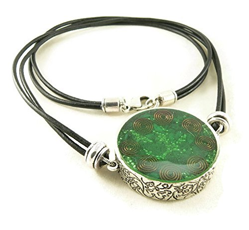 LKS Originals Orgone Energy Large Reversible Pendant Necklace in Silver with Malachite