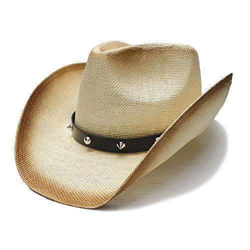 YUXINXIN Punk Style Dames Heren Summer Absorbent brede rand zondag hoed Beach Cowboy Western Cowgirl Ondiepe Top Fedora Rivet Leren Riem (Color : 1, Size : 56-58cm)