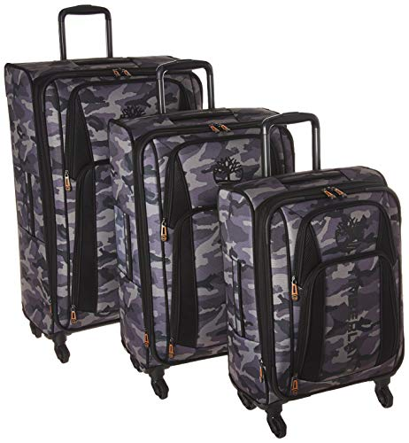 Timberland 3 Piece Expandable Spinner Luggage Set, Grey Camo, One Size