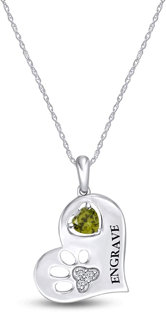 Personalized Engraved Simulated Birthstone Denver Mall Diamond Ranking TOP20 Accent Paw