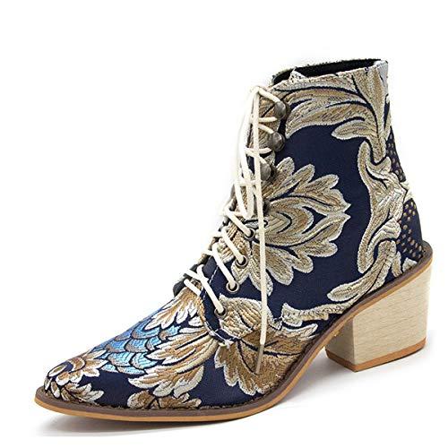 CrazycatZ Damen Vintage Satin Bestickte Blockabsatz Stiefeletten Schnüren Stiefel (38 EU, Blue)