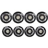 TOBWOLF 4 ruedas de patín en línea de 76 mm, 4 piezas de 80 mm 85 A, ruedas de repuesto para patinaje libre con rodamiento ILQ-9, color negro