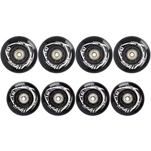 TOBWOLF 4 x 76 mm, 4 x 80 mm 85A Inline-Skate-Rollen, Freestyle-Rollschuh-Ersatzräder mit ILQ-9-Kugellager, schwarz