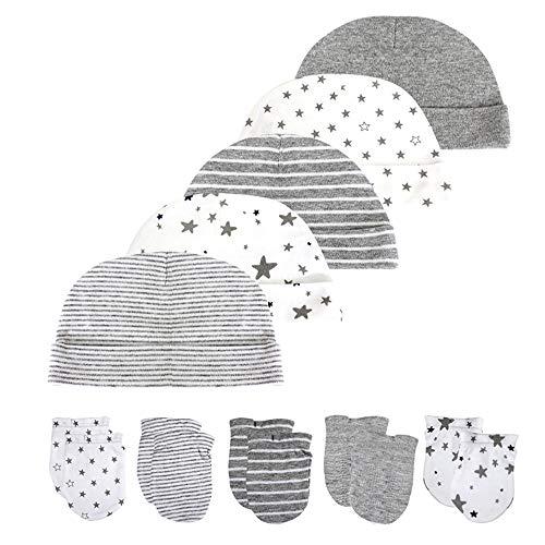 Kiddiezoom Neugeborenes Baby Beanie Mütze und Kratzfäustlinge Set 100% Baumwolle Kleinkind Hüte und Handschuhe 10 PCS 0-6 Monate