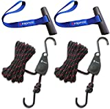 Kayak tie Down Straps Bow and Stern tie Downs Loops Strap Ratchet Rope Canoe Pulley Hanger Anchor Point Tying Kits Blue