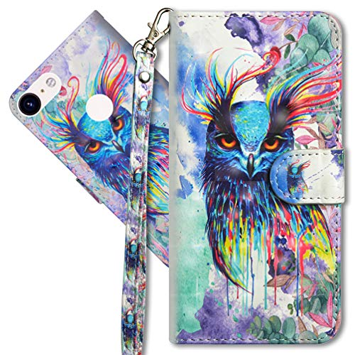 MRSTER Google Pixel 3A XL Handytasche, Leder Schutzhülle Brieftasche Hülle Flip Hülle 3D Muster Cover mit Kartenfach Magnet Tasche Handyhüllen für Google Pixel 3A XL. YX 3D - Colorful Owl