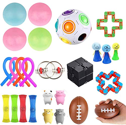 KLQQLK Sensory Fidget Toys Set 26 Pack - Stress Relief for Kids Student Adults, Stress Balls/infinite Cube/sticky Wall Balls/bungee Cords for Calming Toys for Autism Anxiety