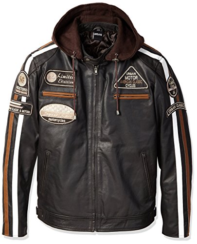 Chaqueta Moto Hombre en Cuero Urban Leather  58 GENTS  | Chaqueta Cuero Hombre | Cazadora de Moto de Piel de Cordero | Armadura Removible para Espalda, Hombros y Codos Aprobada por la CE |Marrón | 2XL