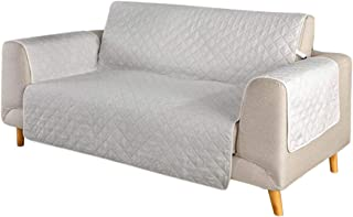 Enerhu Sofa Cover Slipcovers Quilted Upgrade Anti-Slip Couch Covers Elastic Strap-Furniture Cover (Offwhite/Three Seat)