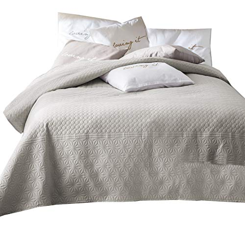 JEMIDI Tagesdecke 170cm x 210cm Bettüberwurf Bettüberwurf Sofaüberwurf Bett Decke gesteppt Tages Tagesdecken Betthusse Beige