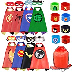 """Kids capes made of soft silky satin made of advanced felt.Durable velcro easy for the kids to take off and on Satin cape measures 27"""" x 27"""" and includes an easy velcro neckstrap Great gift for all occasions,such as birthday party, dress-up occasions ..."""