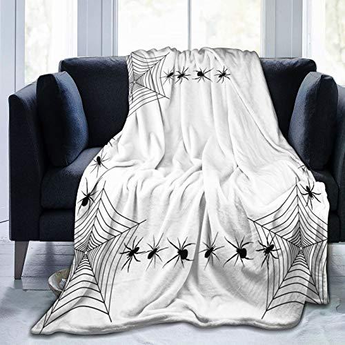 Manta mullida, marco espeluznante con trampa de veneno arácnido estilo monocromo, manta de bebé ultra suave, manta para dormitorio, cama, TV, manta de cama de 80 x 60 pulgadas