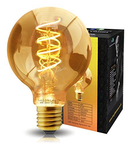 Ampoule LED à filament en spirale - Rétro - Style Edison - En forme de globe et goutte - 4W - Verre doré fumé - G95 - Culot E27