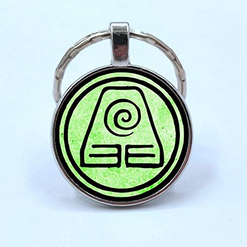 Avatar Keychain The Last Airbender Symbol Fire Nation Water Tribe Earth Kingdom Air Nomad Logo Key Chain Keyring Jewelry Zuko Katara Toph Aang Cosplay Costume Accessories for Men Women Gifts (Earth Kingdom)