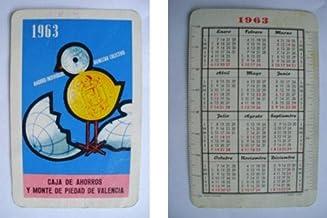 Antiguo Calendario Bolsillo - Old Pocket Calendar : CAJA DE AHORROS Y MONTE DE PIEDAD DE VALENCIA 1963