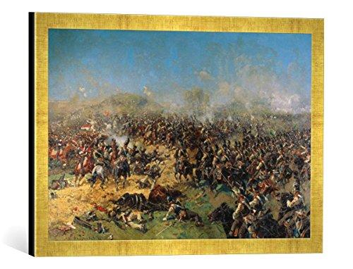 Gerahmtes Bild von Franz Alexejewitsch Roubaud Die dritte französische Attacke in der Schlacht bei Borodino, Kunstdruck im hochwertigen handgefertigten Bilder-Rahmen, 60x40 cm, Gold Raya