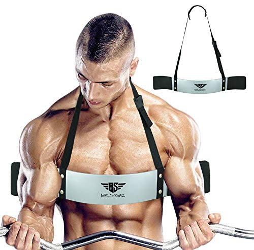 Arm Blaster for Biceps & Triceps Dumbbells & Barbells Curls Muscle Builder Bicep Isolator for Big Arms Bodybuilding & Weight Lifting Support for Strength & Muscle Gains by Be Smart (Silver)