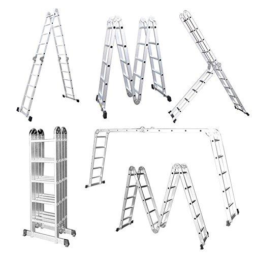 LARS360 6 en 1 Escalera de Tijera 5.5M Escalera Multifunción Plegable Escalera...