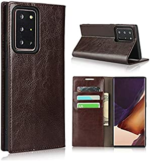 Hanlwza Case Cover For Samsung Galaxy Note 20 Ultra Leather Case, Luxury Crazy Horse Genuine Leather Wallet Case with View...