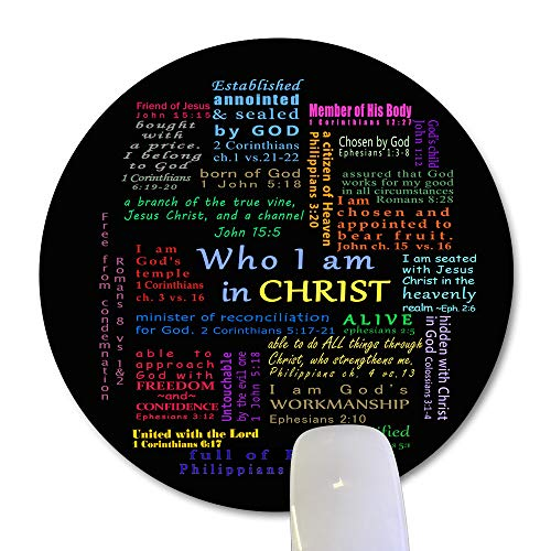 Wknoon Inspirational Quote Round Mouse Pad Custom, Christian Bible Verse Scripture Quotes Colorful Design Art Motivational Sayings Circular Mouse Pads