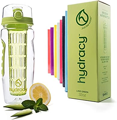 Hydracy Fruit Infuser Water Bottle - 32 oz Sports Bottle - Time Marker, Full Length Infusion Rod & Insulating Sleeve + 27 Fruit Infused Water Recipes eBook Gift - Lime Green from Hydracy