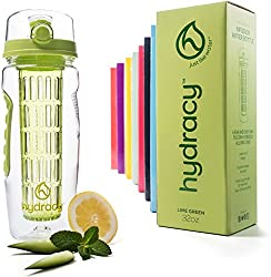 Hydracy water bottle for fruit spritzer 1L - sports water bottle Bpa free with long infuser and insulating sleeve - detox sports bottle +27 delicious recipes infused water eBook gift lemon