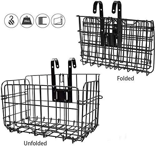 WIKEA Cesta Delantera Plegable de Bicicleta de liberación rápida de Malla metálica (Negro)