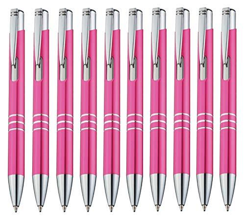 StillRich Industries 10 Stück pinke Metall Kugelschreiber Set Premium Kulli, ballpoint pen, hochwertige, ergonomische und blauschreibende Kugelschreiber (pink)