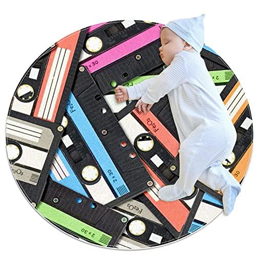 Alfombra redonda de 3 pies de diámetro interior cinta de audio cassette suave sala de estar dormitorio alfombra única mujer yoga Mat decoración del hogar