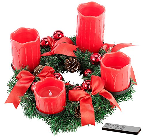 Britesta Adventkranz: Adventskranz mit roten LED-Kerzen, rot geschmückt (Weihnachtskranz mit LED-Kerzen)