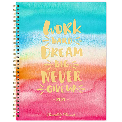 2021 Monthly Planner - 12-Month Planner with Tabs, Pocket, Contacts and Passwords, 8.5' x 11', Jan. - Dec. 2021, Twin-Wire Binding - Watercolor by Artfan