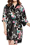 DELEY Mujer Albornoces Kimono Pavo & Flores Satén Pijamas Exóticos Ropa De Dormir Bata Corto Talla M Negro
