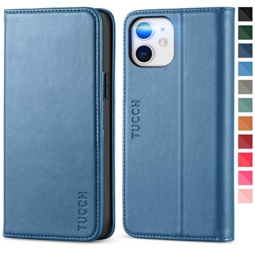 TUCCH iPhone 12 Hülle, Schutzhülle iPhone 12 Pro Kartenfach [Weicher TPU] [Aufstellfunktion] [Magnet], Lederhülle Klappbar, Stoßfest Flipcase, Brieftasche für iPhone 12/12 Pro (6,1 Zoll) Blau