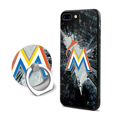 Miami Marlins iPhone 7/8plus Protective Cover Football Logo with Rotatable Phone Holder, Silicone TPU Shock Absorbing Bumper Apple Phonecase