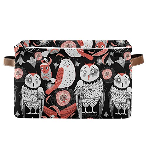 Rectangular Storage Bin Graphic Funny Owl Basket with Handles - Nursery Storage, Laundry Hamper, Book Bag, Gift Baskets