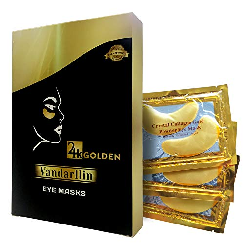 24K Gold Powder Gel Collagen Eye Masks Sheet Patch, Anti Aging,Remove Bags,Dark Circles &Puffiness,Anti Wrinkle,Moisturising,Hydrating,Uplifting Whitening,Remove Blemishes &Blackheads (10 Pairs)
