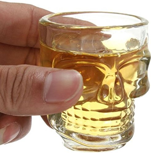 Circleware Skull Face Heavy Base Whiskey Shot Glasses, Set of 6 Party Home Entertainment Dining Beverage Drinking Glassware for Brandy, Liquor, Bar Decor, Jello Cups, 1.7 oz, Fun Shooters, 1.75 oz,