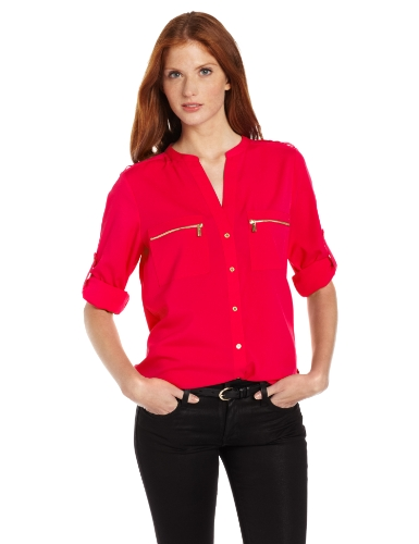 Calvin Klein Women's Modern Essential Zipper Button Front Blouse,Watermelon,Large