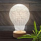 Brunoko Lámpara Bulbo 3D de mesa - Luz LED sobremesa Estilo en Vintage Edison Lamps Antigua- Lampara Base de Madera Conexión USB perfecto para salon, dormitorio y escritorio - regalos originales