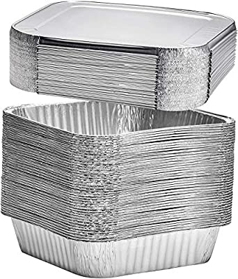 """[30 Pack] 8"""" Square Disposable Aluminum Cake Pans with Foil Lids - Foil Pans Food Containers Perfect for Baking Cakes, Cooking, Roasting, Homemade breads"""