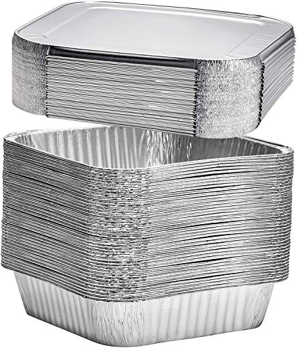 [30 Pack] 8' Square Disposable Aluminum Cake Pans with Clear Plastic Lids, Foil Pans Food Containers Perfect for Baking Cakes, Cooking, Roasting, Homemade breads