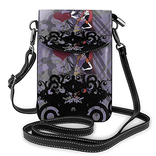 XCNGG Monedero pequeño para teléfono celular Women's Small Crossbody Bag with Shoulder Strap,Jack and Sally Small Cell Phone Purse Wallet with Credit Card Slots