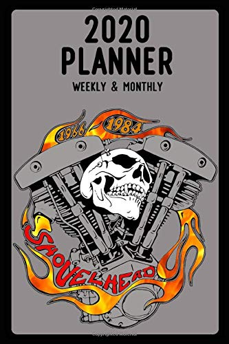2020 Planner, Weekly and Monthly: Jan 1, 2020 to Dec 31, 2020: Weekly & Monthly View Planner, Organizer & Diary: old School Skull Shovelhead V-Twin 55-84