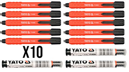 10 lápices de carpintero automáticos YATO + 3 recambios (HB, H2 y blanco)
