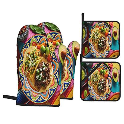 Juego de 4 Guantes y Porta ollas para Horno Resistentes al Calor Platillo Mexicano Tacos Barbacoa Salsas Vegetarianas para Hornear en la Cocina,microondas,Barbacoa