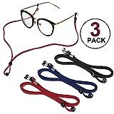 3 Stück Brillenband Sport schwimmfähig, PU Leder Brillenkordel Brillenbänder Brillenkette...