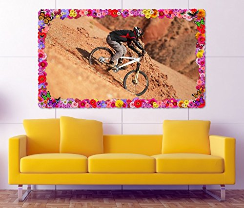 3D Wandtattoo Downhill Biking Mountainbike Blumen Rahmen Wandbild Tattoo Wohnzimmer Wand Aufkleber 11L887, Wandbild Größe F:ca. 140cmx82cm