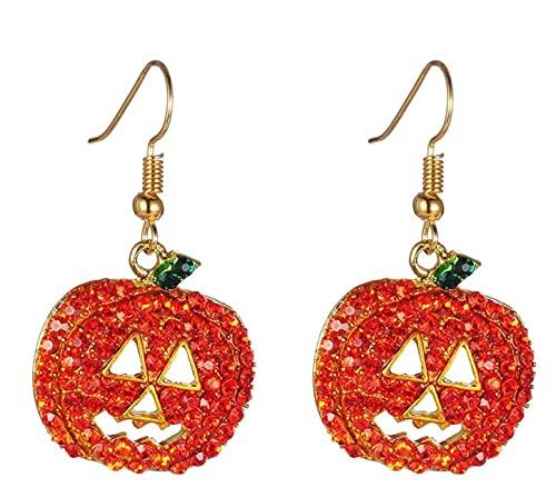 New Big Top Deals Halloween Pumpkin Earrings Jack-O-Lantern Orange Crystal Costume Masquerade