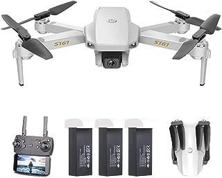 GoolRC CSJ S161 Mini Drone Pro con Cámara 4K Posicionamiento de Flujo óptico Cámara Dual Altitud Hold Gesto Fotos Video 3D FILP Track Flight RC Quadcopter Bolsa de Almacenamiento(3 Batería)
